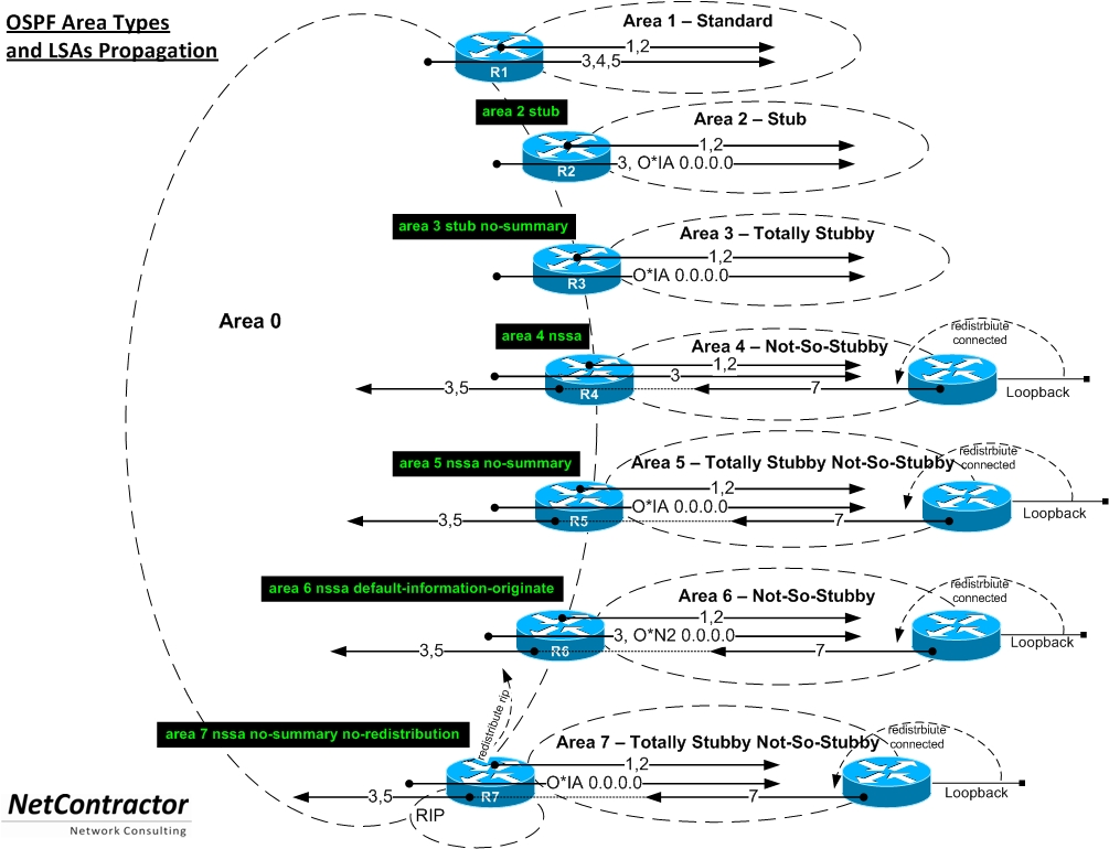 ospf area types with LSA