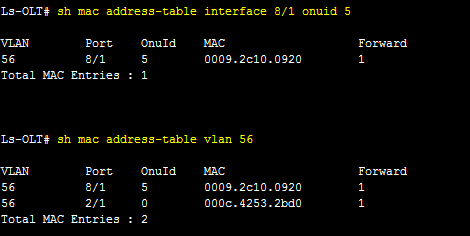 Troubleshooting LS-cable ONT- MAC Address against interface & vlan