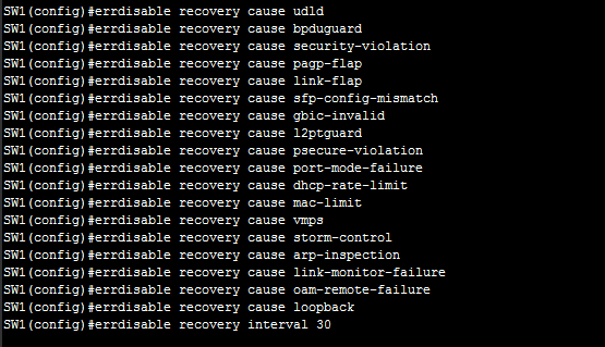 Configure errdisable recovery