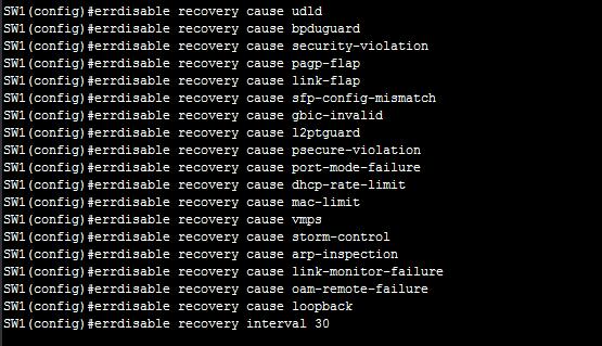 Configure errdisable recovery