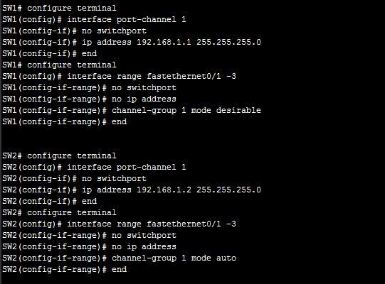 Layer3 Etherchannel Configuration