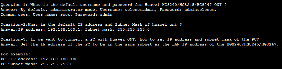 Default username and password for Huawei echolife HG8240 ONT
