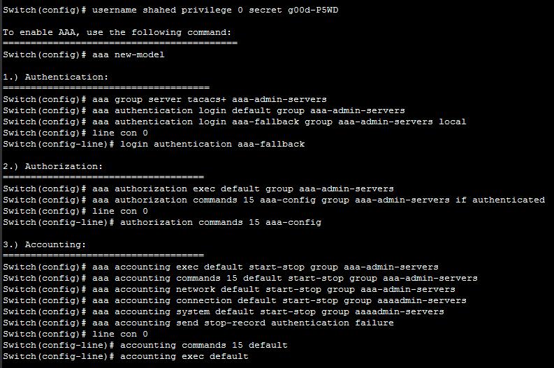 Cisco Switch AAA Security configure