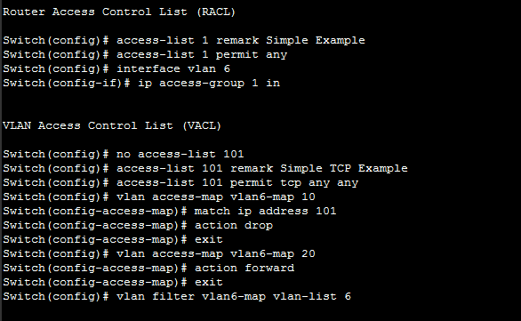 VLAN Access Control Lists Security