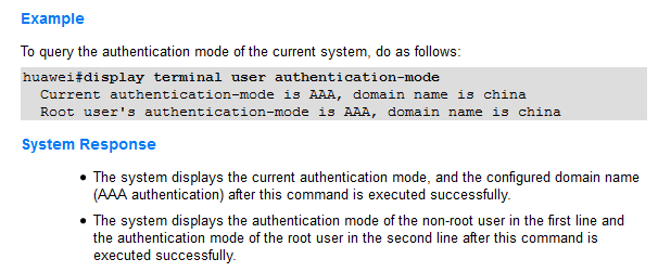 display terminal user authentication-mode
