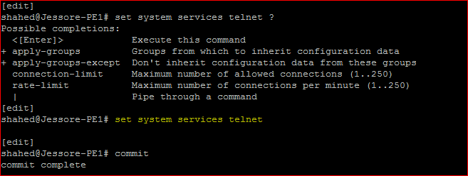 Juniper Remote Access Configuration Enable Telent Service