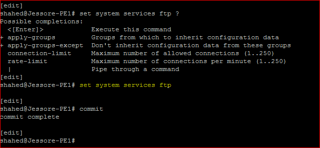 Juniper Remote Access Configuration Enable FTP service