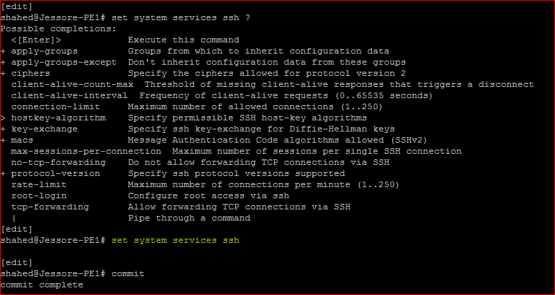 Juniper Remote Access Configuration SSH service