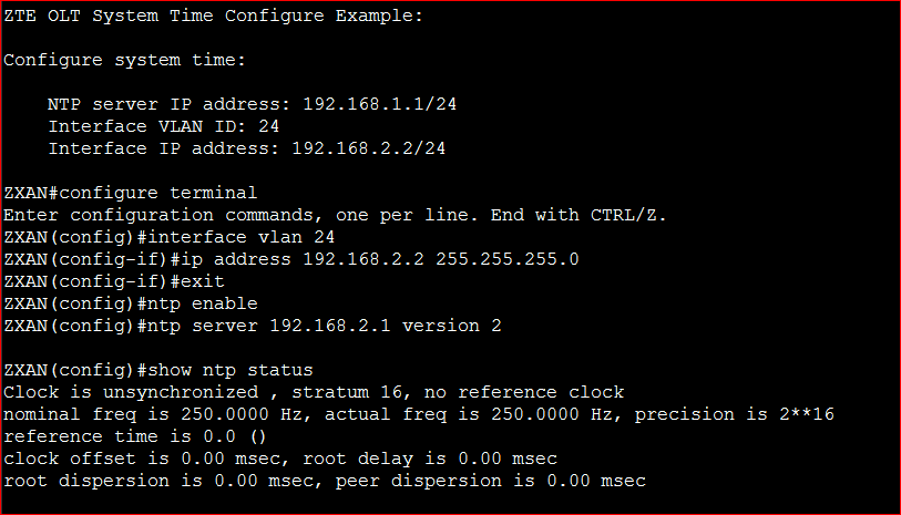 ZTE OLT System Time Configure Example