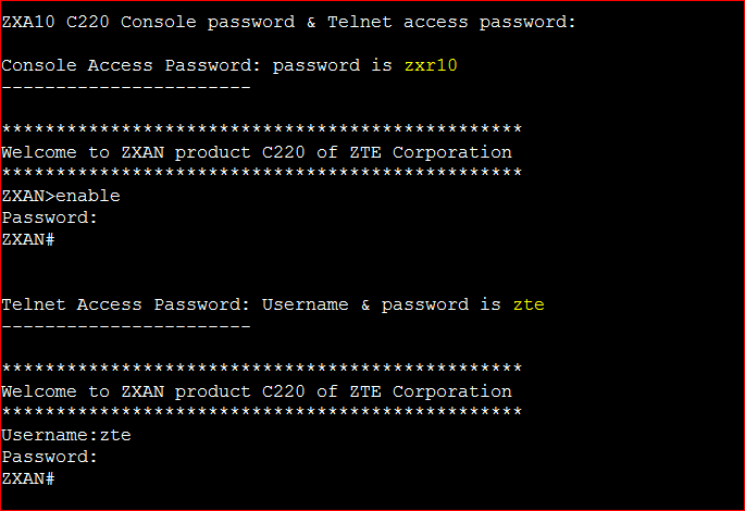 ZXA10 C220 Console password & Telnet access password