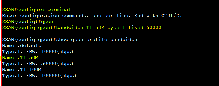 Bandwidth Profile configure ZTE GPON OLT