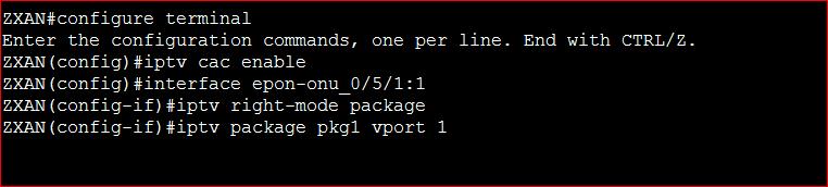 CAC Configure in ZTE OLT