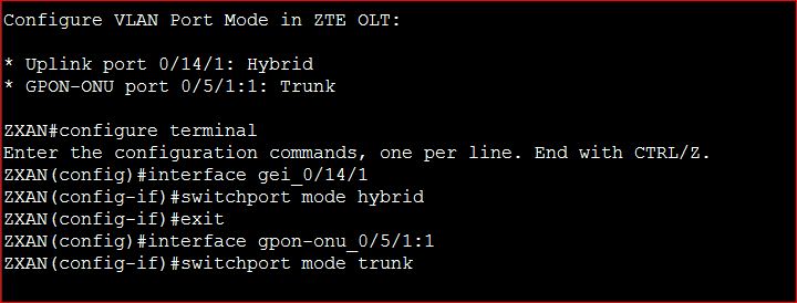 Configure VLAN Port Mode in ZTE OLT