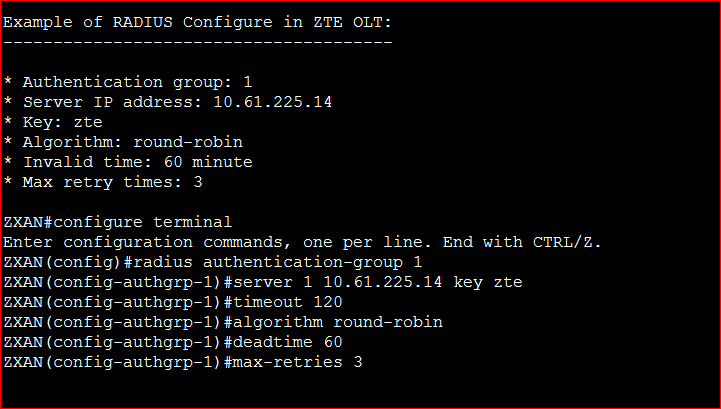 Example of RADIUS Configure in ZTE OLT