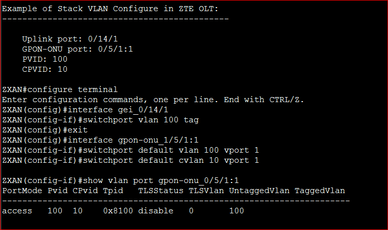 Example of Stack VLAN Configure in ZTE OLT