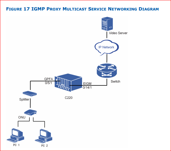 IGMP proxy multicast service networking diagram