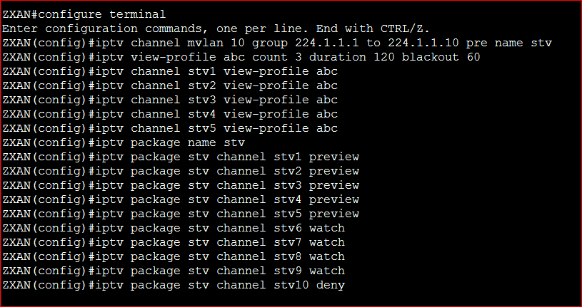 IPTV Package configure in ZTE GPON OLT