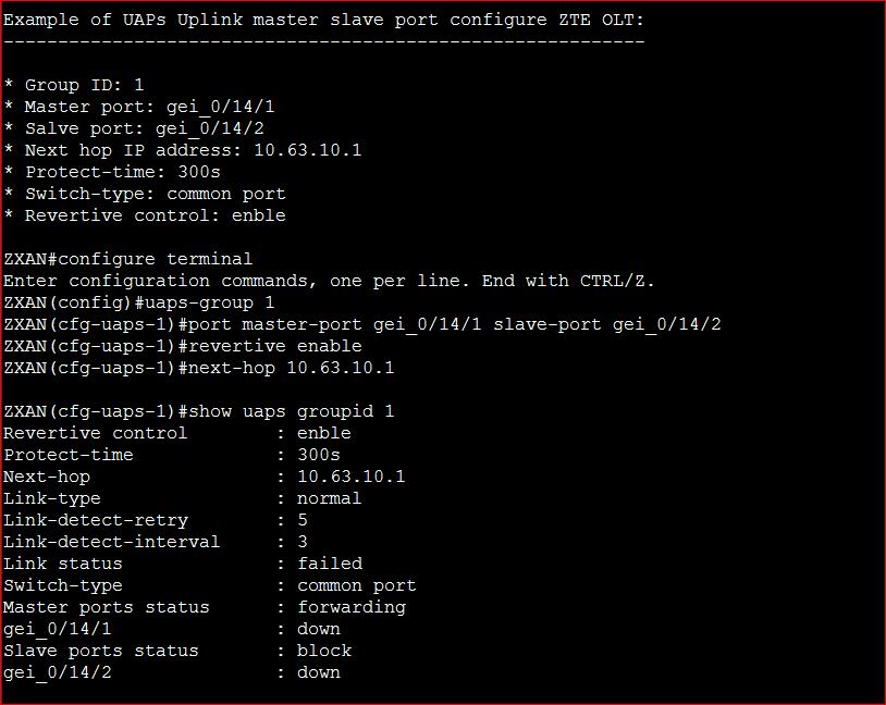 UAPs Uplink master slave port configure ZTE OLT
