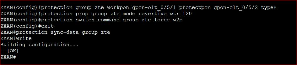 ZTE GPON Protection Service Configuration