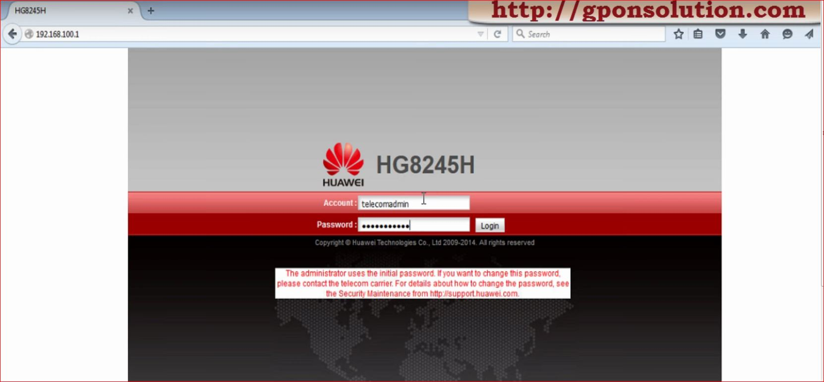 Huawei HG8245 Default password