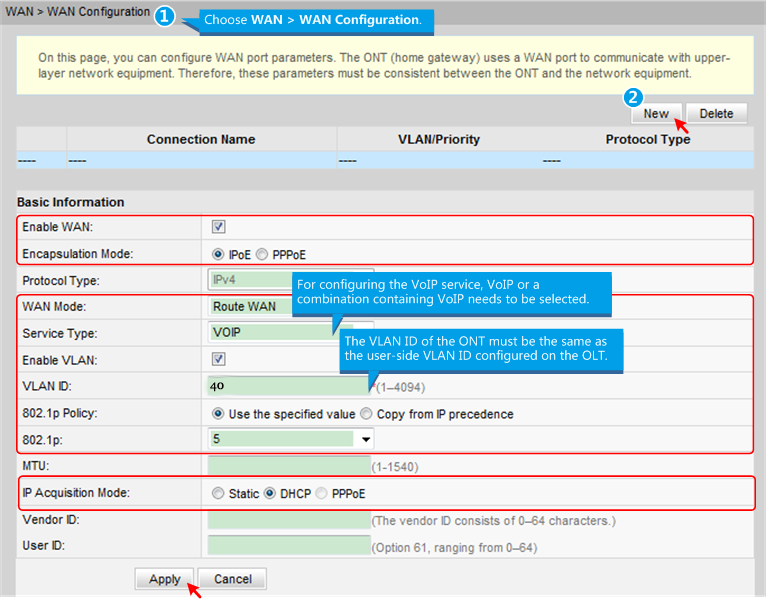 Configure parameters for the voice WAN interface